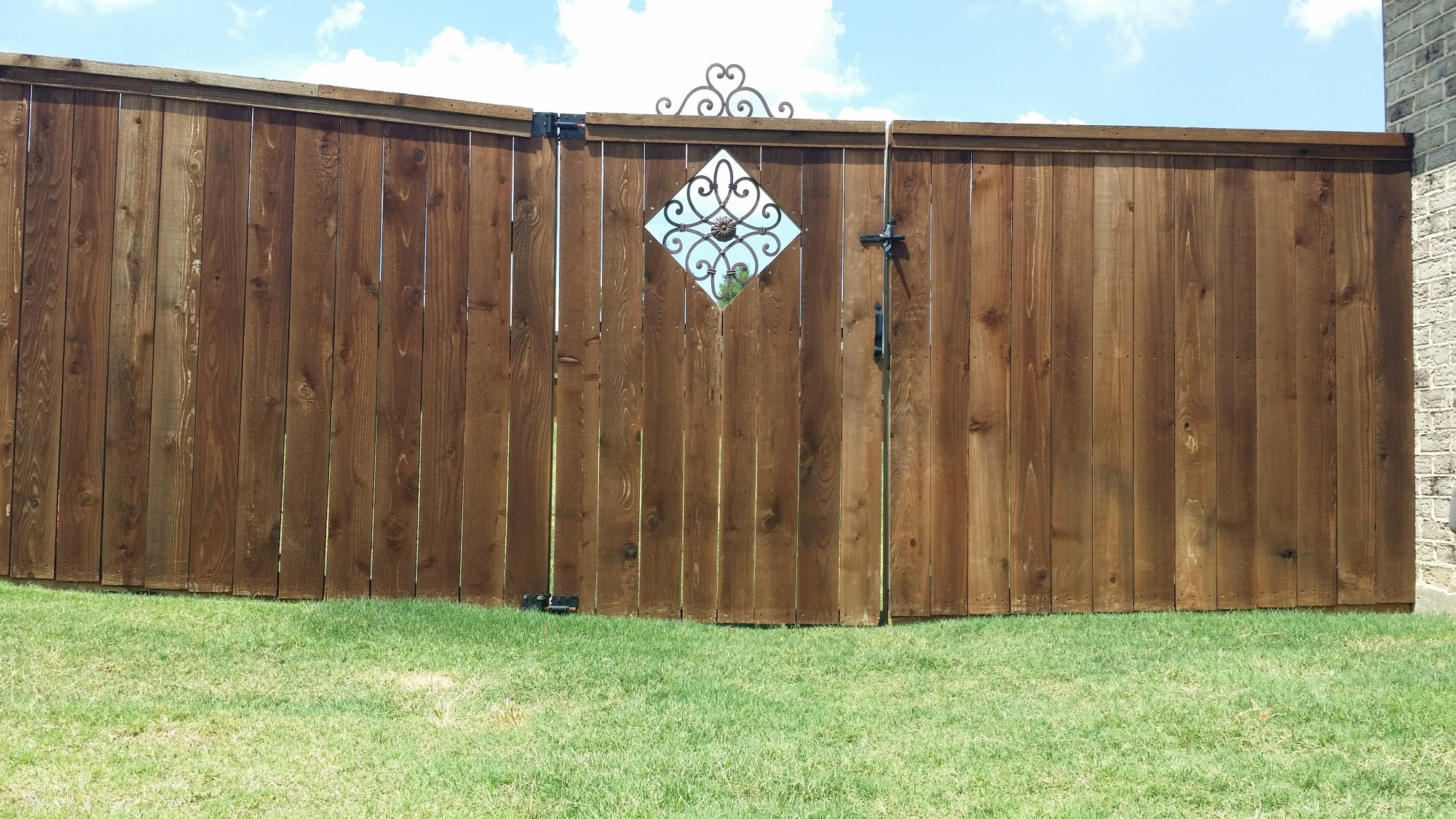 Stained Cedar With Custom Steel Framed Gate